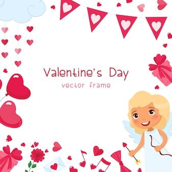 Plantilla de marco cuadrado romántico festivo de san valentín. accesorios de corazones, regalos y globos rosas. diseño de tarjeta de felicitación de vacaciones 14 de febrero. cupido con carácter de flecha