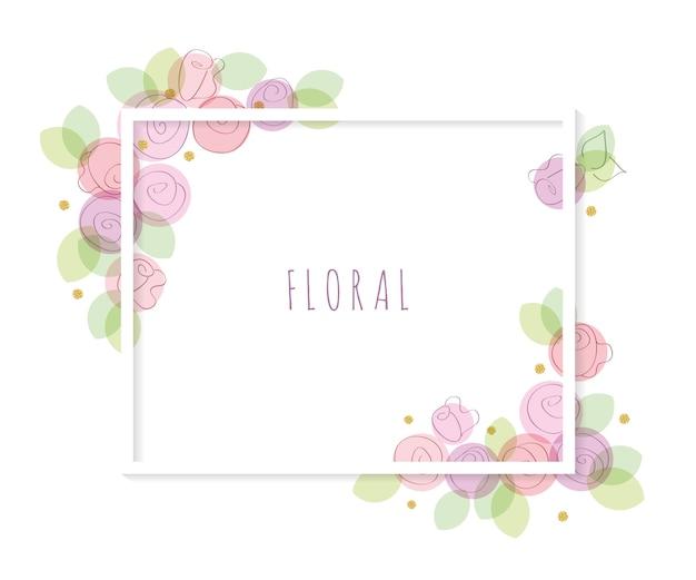 Plantilla de marco decorativo floral.