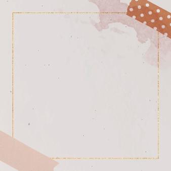 Plantilla de marco dorado cuadrado en blanco