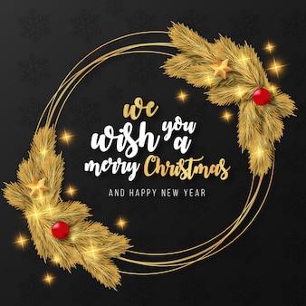 Plantilla de marco dorado realista de feliz navidad