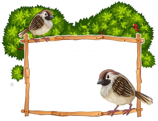Plantilla de marco con dos gorriones.