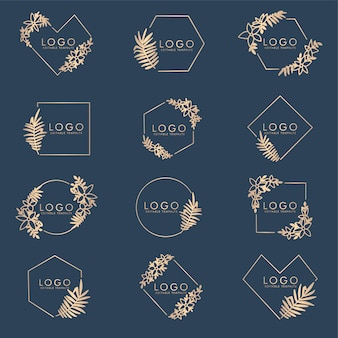 Plantilla de marco editable de belleza floral colección de logotipos