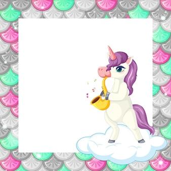 Plantilla de marco de escamas de peces de colores en blanco con lindo personaje de dibujos animados de unicornio