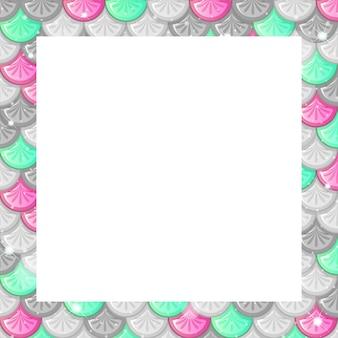 Plantilla de marco de escamas de peces de colores en blanco