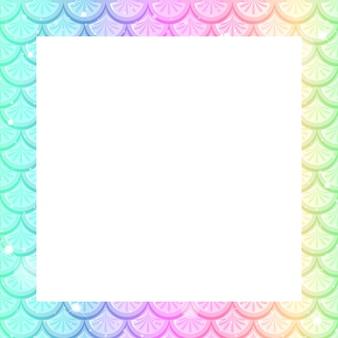 Plantilla de marco de escamas de pescado arco iris pastel en blanco