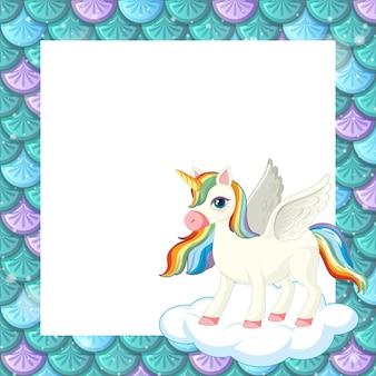 Plantilla de marco de escamas de pescado verde en blanco con lindo personaje de dibujos animados de unicornio