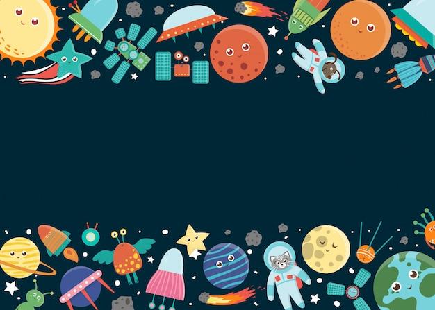 Plantilla de marco espacial. borde horizontal con galaxia, estrellas, planetas, cohetes para niños. linda ilustración plana