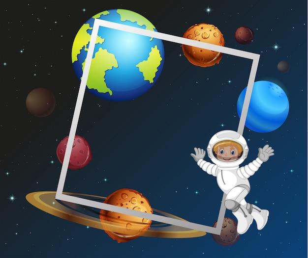 Plantilla de marco de espacio de astronauta