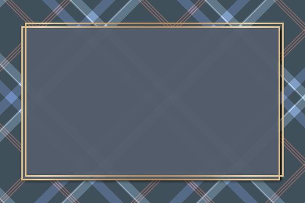 Plantilla de marco estampado tartán azul marino