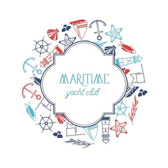 Plantilla de marco con figuras redondas del club náutico marítimo