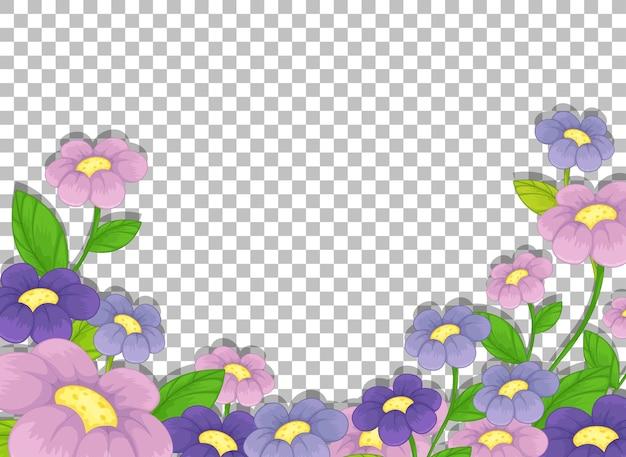 Plantilla de marco de flor morada sobre fondo transparente