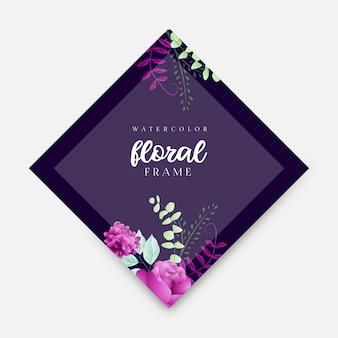Plantilla de marco floral acuarela