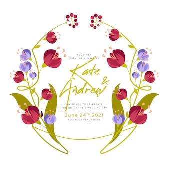 Plantilla de marco floral de boda colorida
