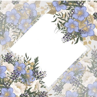 Plantilla de marco floral - flores de color azul claro