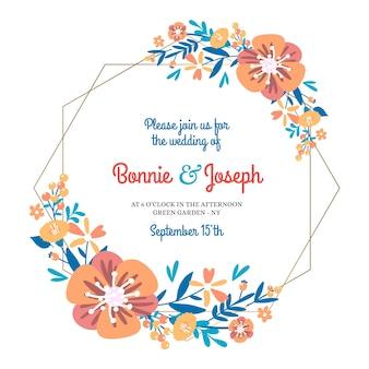 Plantilla de marco floral geométrico de boda
