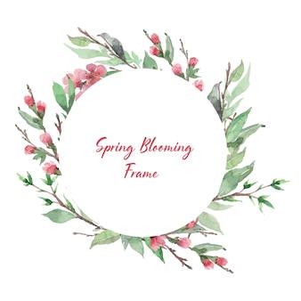 Plantilla de marco floreciente primavera. flor de cerezo borde redondo