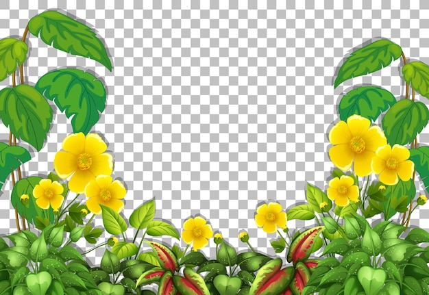 Plantilla de marco de flores amarillas y hojas tropicales sobre fondo transparente