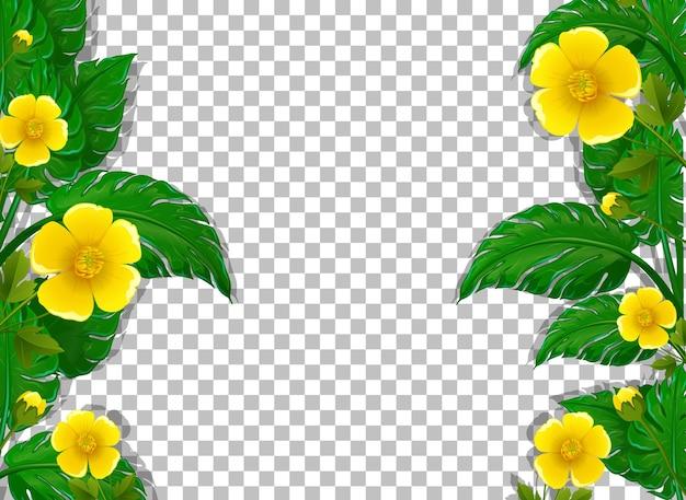Plantilla de marco de flores y hojas amarillas sobre fondo transparente