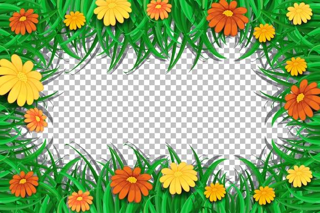 Plantilla de marco de flores y hojas sobre fondo transparente