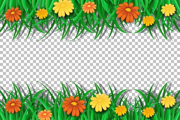 Plantilla de marco de flores en transparente