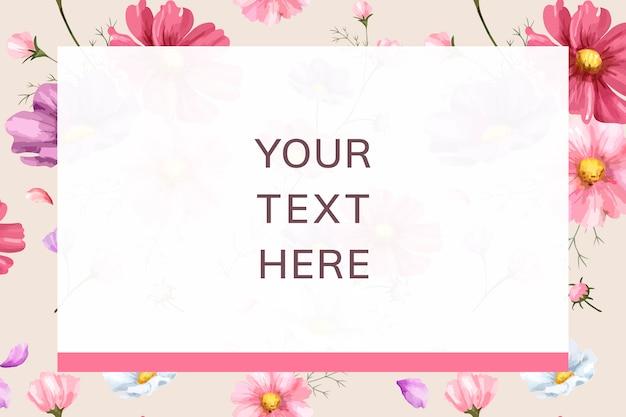 Plantilla de marco de fondo de flor rosa