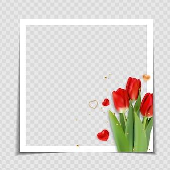 Plantilla de marco de foto de flor de tulipán
