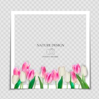 Plantilla de marco de fotos de fondo natural con flores de tulipanes de primavera para publicar en redes sociales.