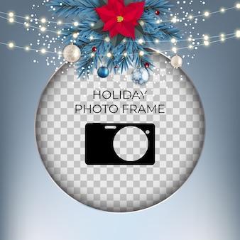 Plantilla de marco de fotos de vacaciones de navidad.