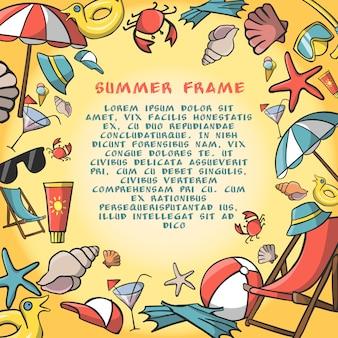 Plantilla de marco de frontera de viajes de vacaciones de verano