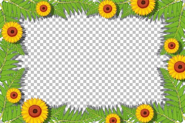 Plantilla de marco de girasol sobre fondo transparente