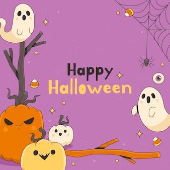 Plantilla de marco de halloween dibujado a mano