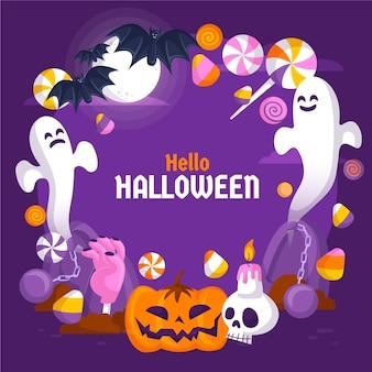 Plantilla de marco de halloween con murciélagos y fantasmas