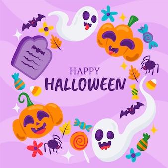 Plantilla de marco de halloween plano dibujado a mano