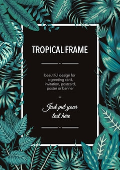 Plantilla de marco con hojas de color verde esmeralda tropical