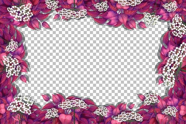 Plantilla de marco de hojas rosadas sobre fondo transparente