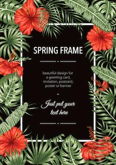 Plantilla de marco con hojas tropicales y flores sobre fondo negro. tarjeta de diseño vertical con lugar para texto. diseño de primavera o verano.