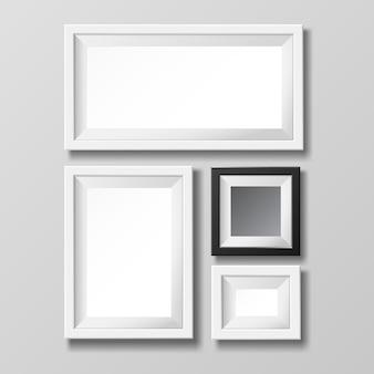 Plantilla de marco de imagen en blanco gris y negro para imagen o texto.