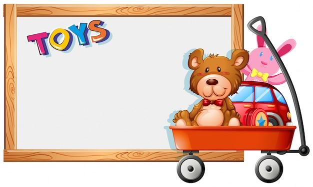 Plantilla de marco con juguetes en carro rojo