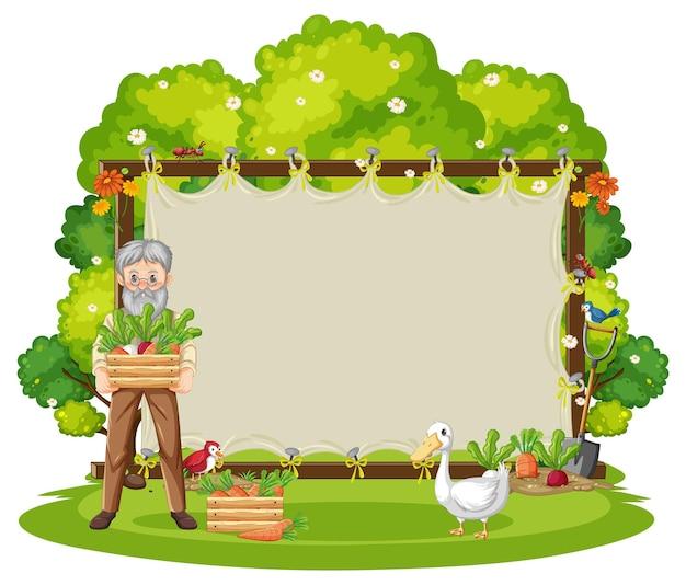Plantilla de marco de lienzo en la escena del jardín aislada sobre fondo blanco
