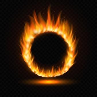 Plantilla de marco de llama de fuego de luz redonda realista sobre fondo transparente