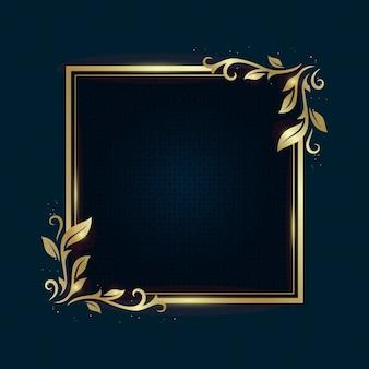 Plantilla de marco de lujo dorado degradado