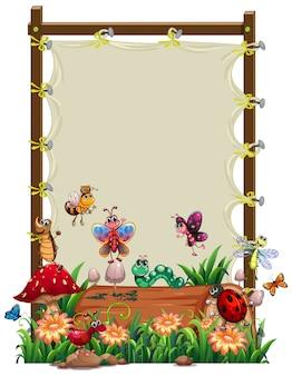 Plantilla de marco de madera de lona con juego de jardín de animales