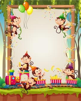 Plantilla de marco de madera de lona con monos en tema de fiesta en el bosque