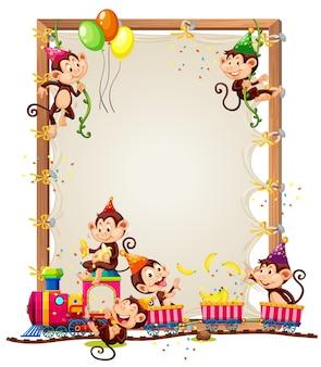 Plantilla de marco de madera con monos en tema de fiesta