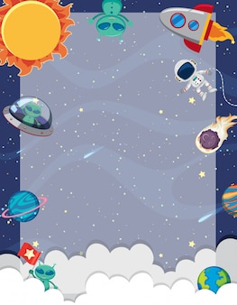 Plantilla de marco con muchos planetas en el fondo del espacio