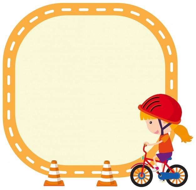 Plantilla de marco con niña montando bicicleta
