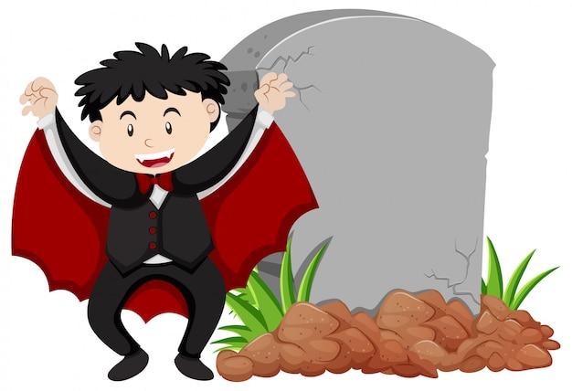 Plantilla de marco con niño feliz en traje de vampiro
