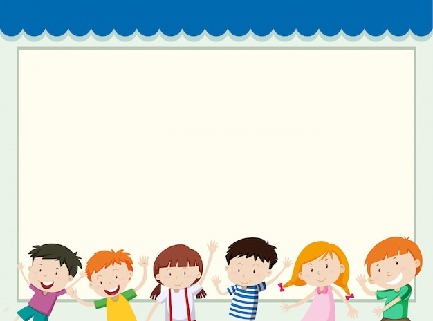 Plantilla de marco con niños