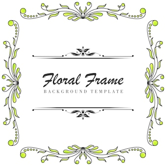 Plantilla de marco ornamental floral premium