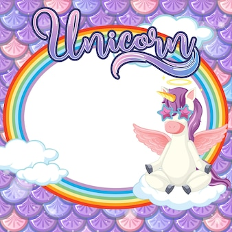 Plantilla de marco ovalado en escamas de pescado púrpura con personaje de dibujos animados de unicornio